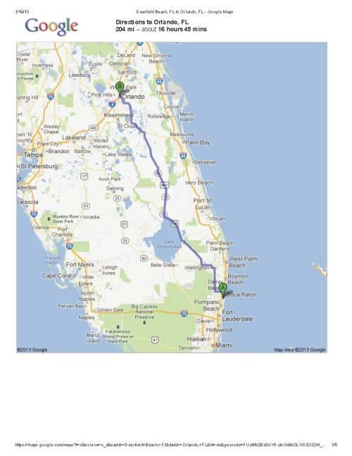 Deerfield Beach, FL to Orlando, FL - Google Maps 1